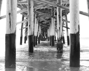 Black and White, Beach Photography Print, Surf Art Print, Newport Beach, Pier Picture, Bedroom Wall Decor California Wall Art Coastal Decor