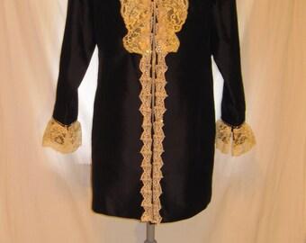 Upcycled small size lace embellished black silk women's jacket, black silk jacket small size, vintage lace embellished women's silk jacket