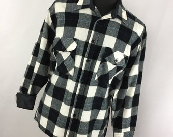Vintage Carson Pirie Scott L Large 16 16.5 Flannel Shirt Black White Plaid BUtton Down Front Work R3