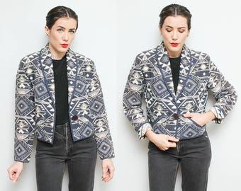 Boho Southwest Cropped Jacket // 80s Blue Aztec Geometric Print Hipster Coat Size Small Medium