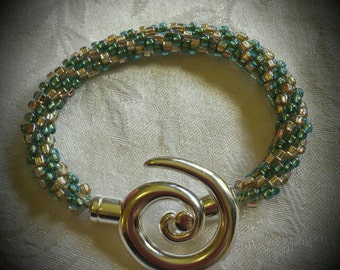 Kumihimo Spiral Bracelet in Aqua and Champagne
