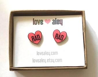 heart earrings heart stud earrings cute earrings rad earrings rad heart pink heart earrings