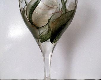 Hand Painted White Roses Wine Glass Dishwasher Safe