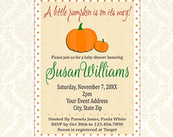 Little Pumpkin Baby Shower Invitation, Printable A Little Pumpkin Is On It's Way, Gender Neutral Lil Pumpkin Invite, Digital File