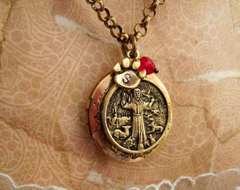 St francis necklace etsy st francis of assisi necklace locket saint francis jewelry catholic religious gifts personalized aloadofball Choice Image
