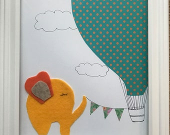 Elephant and Hot air balloon baby birth frame