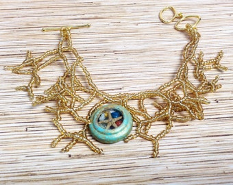 Sargassum Weed Mermaid's Bracelet with Patina Recycled/Upcycled Watch Pendant