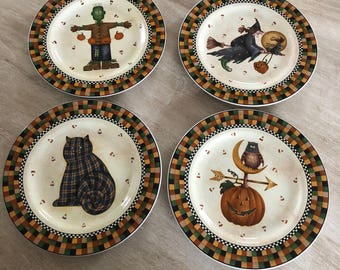 Set of 4 Debbie mumm Halloween plates & Country halloween | Etsy