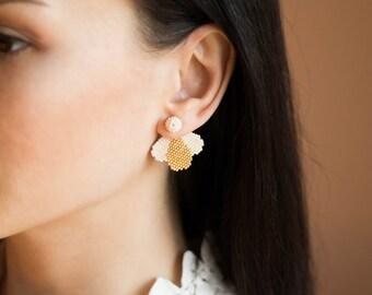 Gold ivory bridal ear jackets Bridesmaid gift ear jackets Bridal ear cuff earrings Wedding ear jacket Minimalist ear crawler Ear climber