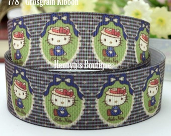 "4 yards: Hello Kitty in Old Style Red Hat Character Logo Brand Inspired Olive Navy Grosgrain Ribbon 7/8"" inch wide. Gift Wrap. DIY Supplies."