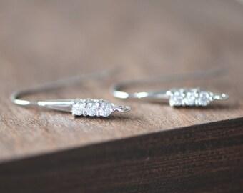 Rhinestone Sterling Silver Earring Hooks, 925 Silver Earwires 25mm Large, 2pcs=1 Pair (S016-4)