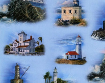 Elizabeth's Studio fabric West Coast LIGHTHOUSES