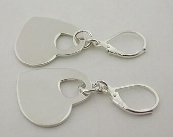 Sterling Silver Lever Back Heart Earrings