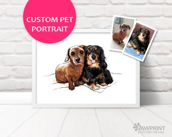 Pet Portrait of two dogs - double pet portrait of two dogs or puppies - printed digital painting - personalised print custom pet portrait