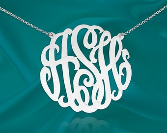 Monogram Necklace Silver - Personalized Initial Necklace - 1.5 inch Sterling Silver - Custom Monogram Necklace - Made in USA