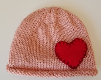 Hand Knit Pink and Red Baby Beanie