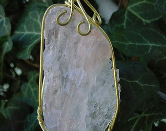Peach Pink Quartz Pendant / Necklace Wire Wrapped Healing, Power Stone 12f103