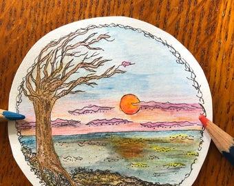 Original Sunset Drawing-Round