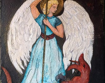 Saint Michael, Painting, Mixed Media, Sacred Art, Religious Art, Christian Art, Esoteric, Mystic