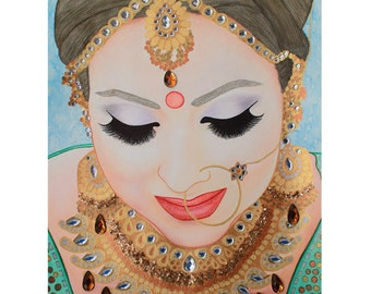 Beautiful Sikh Bride - Mixed Media Art - ART PRINT - 8 x 10 - By Toronto Portrait Artist Malinda Prudhomme