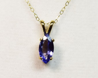 Tanzanite Pendant, 14kt Yellow Gold, Genuine  Gemstone 10x5mm Marquise .93ct, With 18inch Gold Chain Included