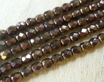 4mm Faceted Bronze Beads - Czech Firepolished Glass Beads - Wrap Bracelet Beads - Bronze Nugget Beads - Bronze Glass Beads - Metallic Beads