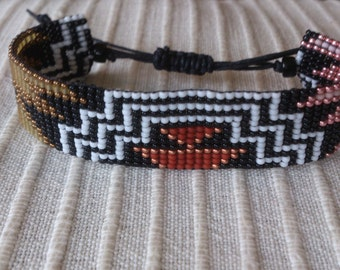 Loom beaded bracelet/Loom beaded bracelet with waxed cord