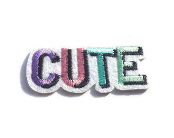 CUTE Lilac, Pink, Blue and Green Iron on Patch, Cute Patch for Jeans, Hats or Bags