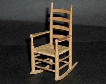 Miniature GUSTAFSON  ROCKING Caned Chair