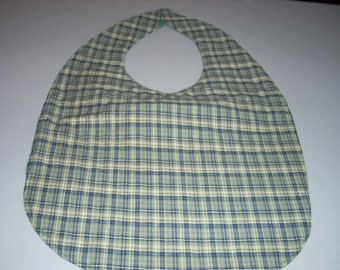 Green and Navy Blue Plaid Adult Size Bib / Clothing Protector - Reversible