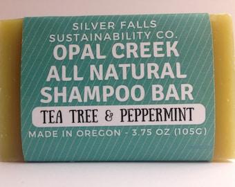 Tea Tree & Peppermint  Zero Waste Shampoo Bar - Lasts as long as a 16 oz bottle of shampoo!
