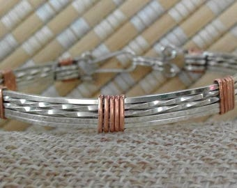 Classic wire bangle silver accented with copper