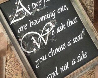 Custom Fonts Chalkboard Wedding Seating Sign