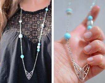 Sautoir ethnique argenté et turquoise - bijou estival - métal argenté, turquoise heishe et turquoise synthétique - argenté, bleu, blanc