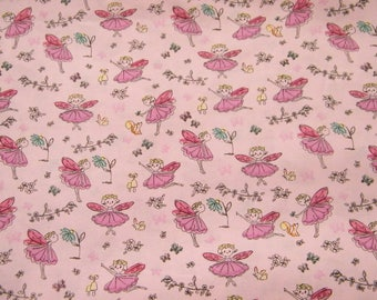 BTY FAIRY PRINCESS on Pink Print 100% Cotton Quilt Craft Fabric by the Yard