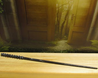 Black Ebony Helix Style Magic Wizard Wand Costume Accessory - Black Ebony Helix wand by MDH Toys