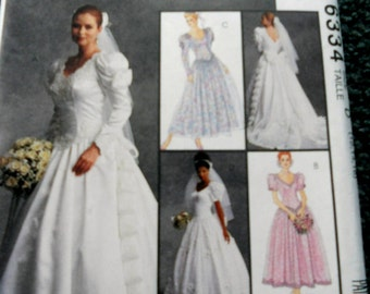 McCalls 6334 Wedding Gowns and Bridesmaid Dresses in sizes 12,14,16 (uncut)
