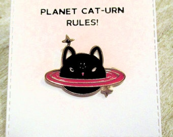 Planet Cat-urn Enamel Pin with handmade Punny card & envelope - Lapel Pin - Hard Enamel Pin - Animal - Kawii - Trending - Backpack Pin