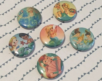 Kitsch Mermaids Magnets or Pins (Set of 6) Stocking Stuffer, Cute Button, 1 inch, Pinbacks, Button Set, Magnet Set, Vintage Inspired, Retro