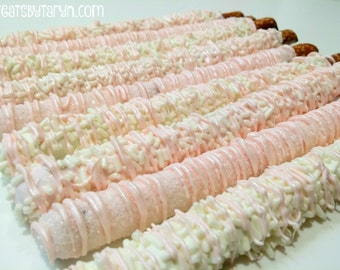 Chocolate Covered Pretzels- Baby pink/white