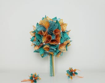 Turquoise bridal bouquet / orange and Bridal Accessories