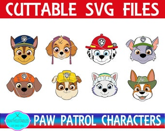 Paw Patrol Characters SVG, PNG Files Silhouette Cameo and Cricut Files