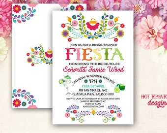 Fiesta Invitation- Fiesta Bridal Shower Invitation- Cinco de Mayo Invitation- Mexican Invitation- Margarita- Bachelorette- Printable 5x7