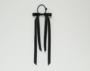 Very long narrow tail black cream satin bow hair tie ponytail holder comb for women