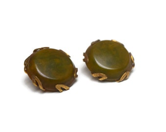 Bakelite Clip Earrings, Olive Pea Soup Bakelite and Brass Button Earrings, Bakelite Jewelry