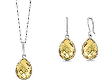 Natural Citrine Sterling Silver Necklace Pendant Set Birthstone Gemstone Jewelry Set November Birthstone Valentines Day Gift Ideas