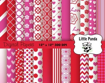 70% OFF SALE Valentine Digital Scrapbooking Papers 24 jpg files 12 x 12 - Instant Download - D204