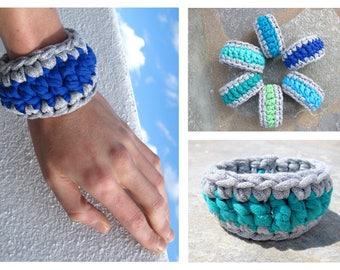 Korali Bracelet, Crochet bracelet, recycled textile, woman bracelet, washable