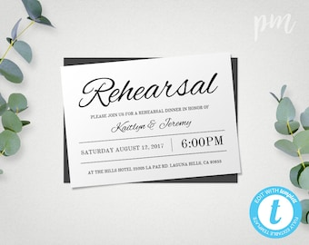 Rehearsal Dinner Invitation Template, Instant Download, Wedding Rehearsal Invitation Template, Edit in Our Web App, Digital File