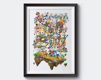 Super Smash Bros Watercolor Poster